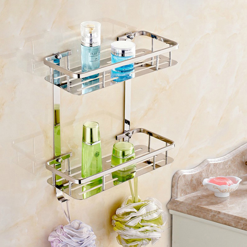 цена на Stainless Steel 304 Two Layer Bath Shelves Wall Towel Washing Shower Basket Bar Shelf With Hooks Bathroom Accessories #80416