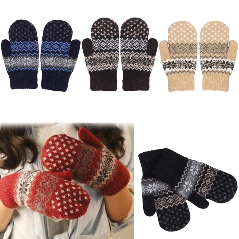 Winter Ladies Crochet Cotton Gloves Wool Knitted Womens Warm Fleece Gloves Snowflake Print Heated Mittens Gants Femme