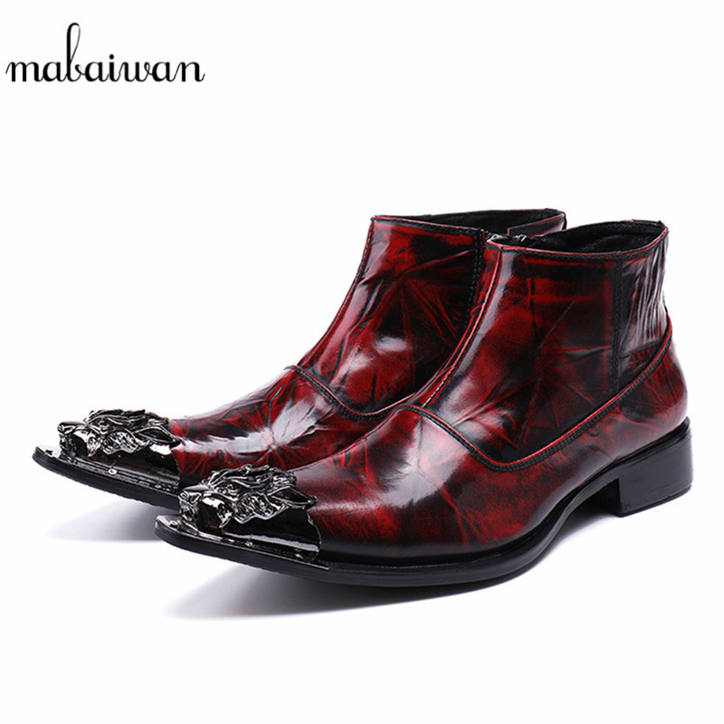Mabaiwan Fashion Casual Shoes Genuine Leather Men Ankle Boots Slipper Metal Pointed Toe Shoes Men Zipper Military Cowboy Boots