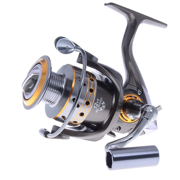 Lure Reel Еңбекті қорғаушы Carp Fishing Reel Super Worthy Spinning Reel Metal Spool 12 + 1 BB 5.1: 1 2000-4000 Series CNC Drag