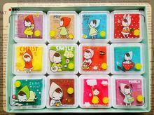 12 color cute children cartoon finger print sets of children's toys