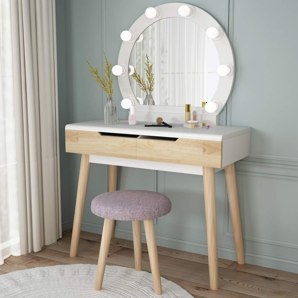 Vanity Set With Round Lighted Mirror Wood Makeup Table