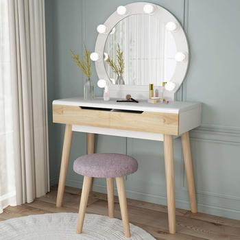 Vanity Set with Round Lighted Mirror Wood Makeup Table Dressing Dresser Desk 2 Drawers Cushioned Stool for Bedroom Free Shipping