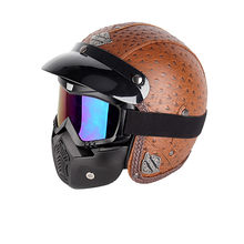 Neue Retro Vintage Deutsch Stil Motorrad Helm 3/4 Open Face Helm Roller Chopper Cruiser Biker Moto Helm Brille Maske(China)