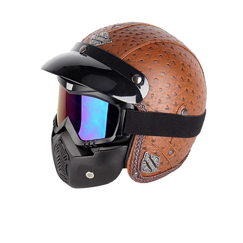 Nouveau rétro Vintage Style allemand casque de Moto 3/4 visage ouvert casque Scooter Chopper Cruiser motard Moto casque lunettes masque