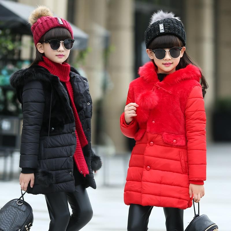 winter girls jacket coat Children 's winter children' s cotton - padded girls thickening cotton Slim mosaic jacket down coat designers children s