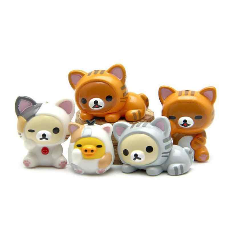 5pcs/lot Diy Creative Kawaii Lazy Bear Miniatures Cartoon Animal Cat Figurine Chicken Resin Fairy Garden Miniatures  Home Decor