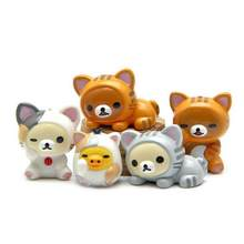 5pcs/lot Diy Creative Kawaii Lazy Bear Miniatures Cartoon Animal Cat Figurine Chicken Resin Fairy Garden Miniatures Home Decor(China)