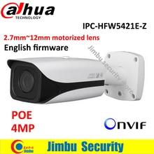 DAHUA 4MP Full HD WDR Vandalproof IPC-HFW5421E-Z 2.8mm ~12mm varifocal lens IP camera POE cctv camera support sd card store