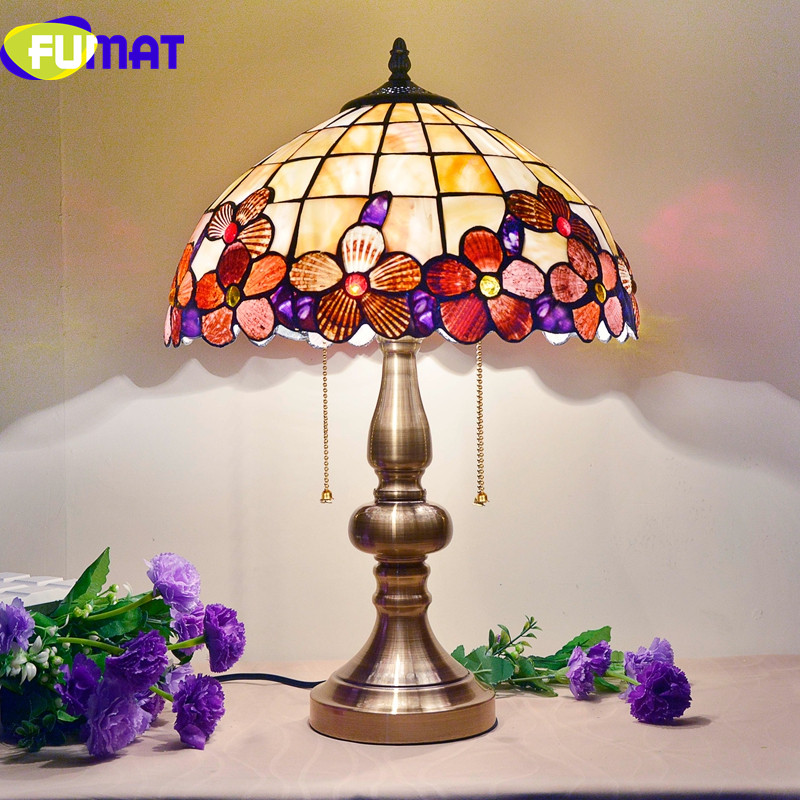 FUMAT 14 Inch Peony Shell Table Lamps European Bedroom Bedside Table Lamp For Living Room Study Art Deco Desk Lamp