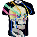 Diseñador de verano Divertido 3D Esqueleto Humano Impresión Femenina Camiseta de Las Mujeres/de Los Hombres Unisex Del O-cuello de Manga Corta Harajuku Camiseta Emoji Tapas de la camisa