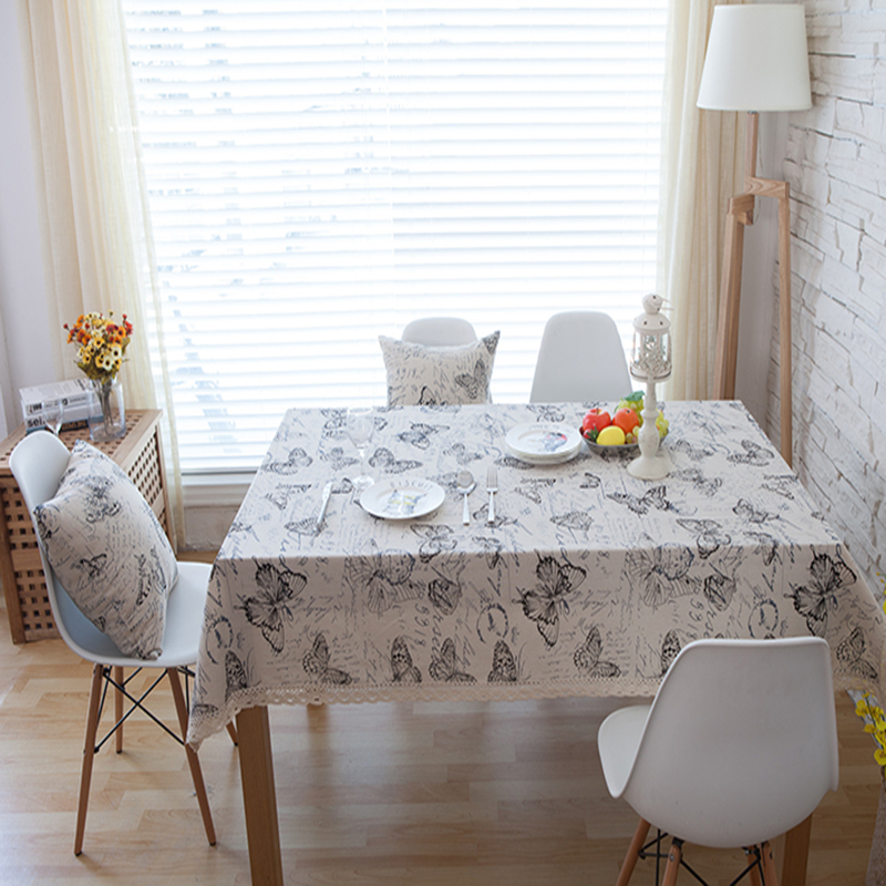 linen table cloth coffee tea table cloth butterfly floral lacehome hotel restaurant shop deco pastoral style deal free shipment