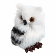"Cute Lovely Owl White Black Furry Christmas Bird Ornament Decoration Adornment Simulation H2.75"" for Home Decor Kids Gift(China)"