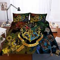 HELENGILI 3D Bedding Set Harry Potter Print Duvet Cover Set Bedcloth with Pillowcase Bed Set Home Textiles #HLBT 14