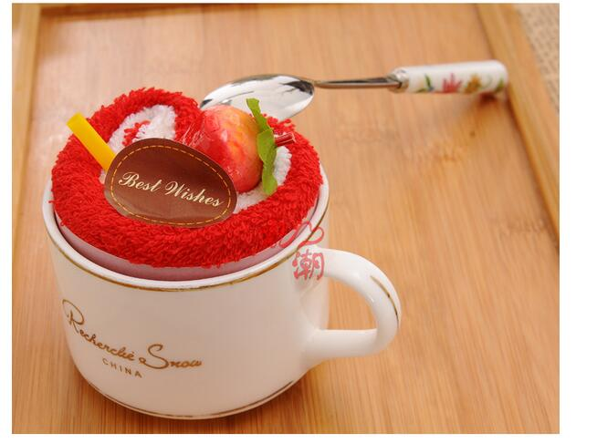 50pcs/lot! Cake Towels Creative Wedding Party Gift Birthday Gifts, Heart Shaped 20cm*20cm