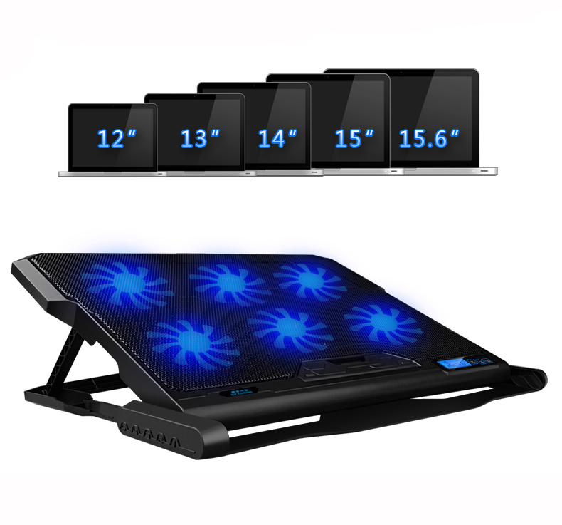 Image 3 - Laptop Cooler With 2 USB Ports And 6 Cooling Fans Silent Laptop Cooling Pad Notebook Stand For 12 16 inch fixture For Laptop-in Laptop Cooling Pads from Computer & Office