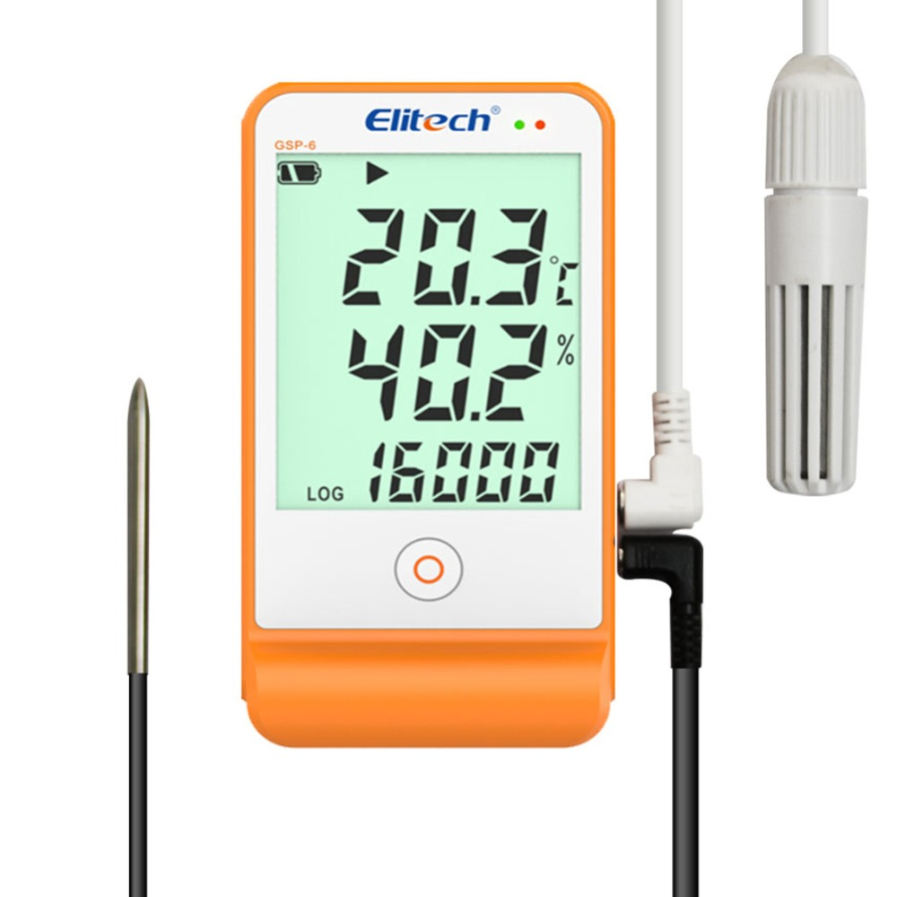Регистратор данных о температуре и влажности с ЖК-дисплеем, USB, большие внешние датчики, детектор на 16000 точек, GSP-6