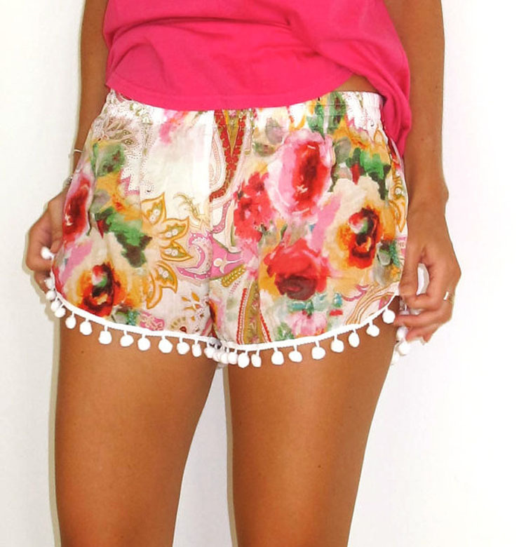 TOKITIND Women Sexy Floral Printing High Waist Elastic Waist Lace Shorts Summer Short Pants summer pom pom shorts
