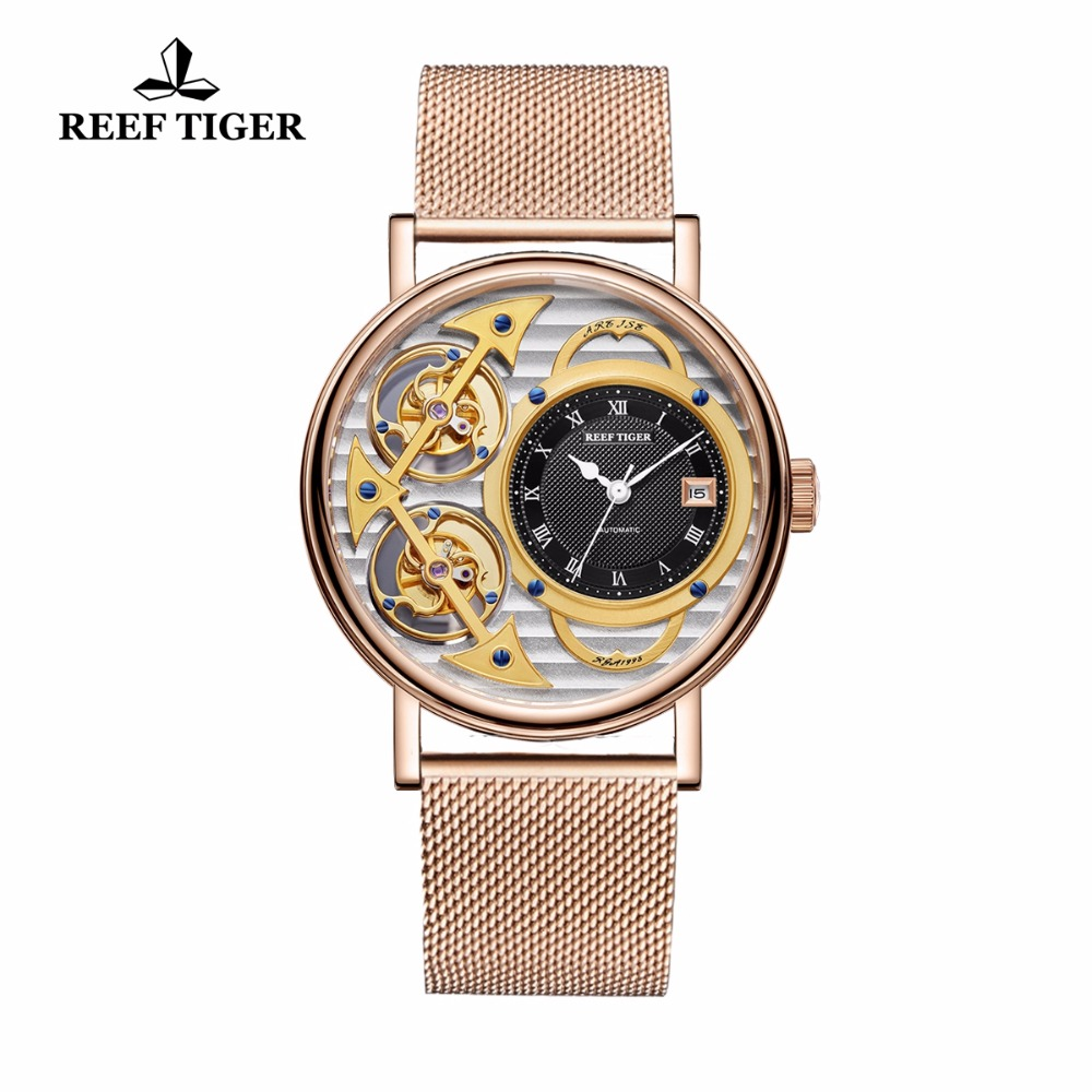 цены Reef Tiger Luxury Fashion Watches Men Gold Skeleton Analog Wastches Mechanical Watch RGA1995 (Non-moving Double Tourbillon )