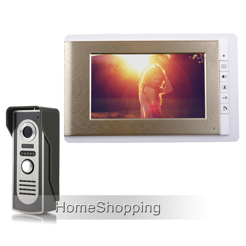 FREE SHIPPING 7 Home Color Screen Video Door phone Intercom Bell System 1 Doorbell Camera + 1 Golden Monitor IN STOCK Wholesale free shipping new handheld 4 3 inch color tft video door phone doorbell intercom night vision door bell camera 2 screen in stock