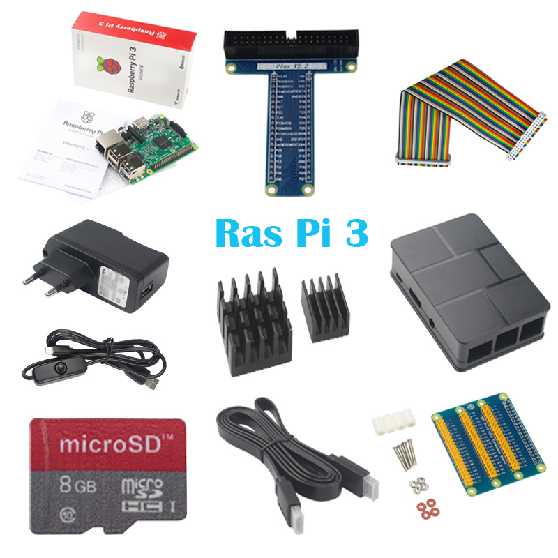10 in 1 Raspberry Pi 3 ABS Case 8GB SD Card GPIO adapter 2pcs Heat Sink