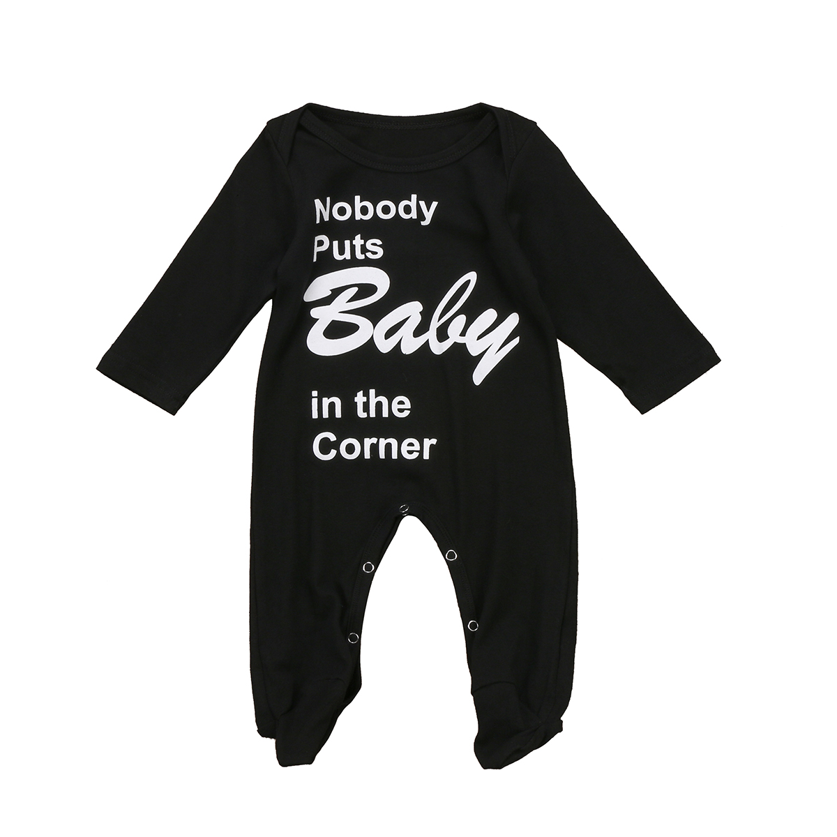 Pudcoco 2017 Black Newborn Baby Boys Girls Long Sleeve Footies Jumpsuit Corner Clothes Outfits 0-18M