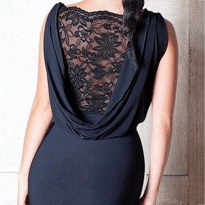 Image 4 - 숙녀를위한 최신 라틴 댄스 드레스 블랙 색상 민소매 내구성 스커트 착용 여성 현대 볼룸 드레스 패션 B013