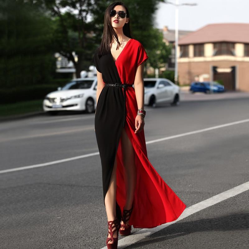 Free Shipping New Designer Female Patchwork Chiffon Short Sleeve Split Maxi Dress Women fashion Floor Length