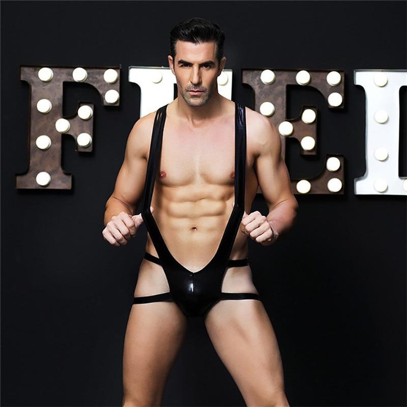 Men Sexy Costume Porno Lingerie Hot Erotic Latex Catsuit Body Underwear Blackc Leather Bodysuit