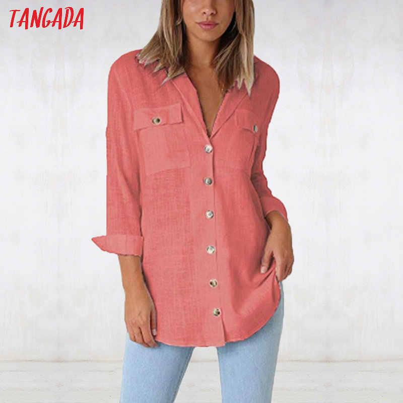535b8909c30 ... Tangada Женская белая блузка длинная рубашка 2019 длинная lseeve  винтажная черная хлопковая рубашка Топ женский большие ...