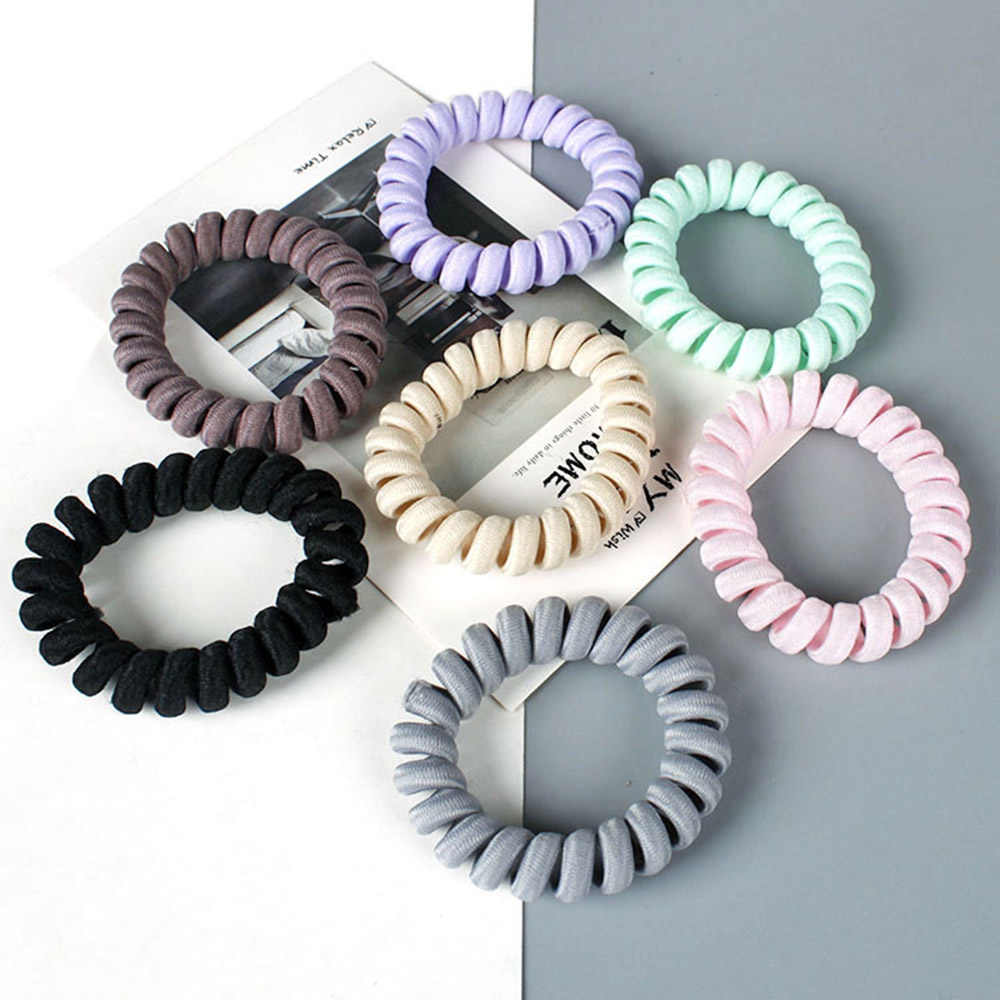 1 pc 7 colors Elasticity Telephone Coil Hairbands Women Spiral Hair Ties Girls Hair Rings Rope Telephone Wire Hair Accessories