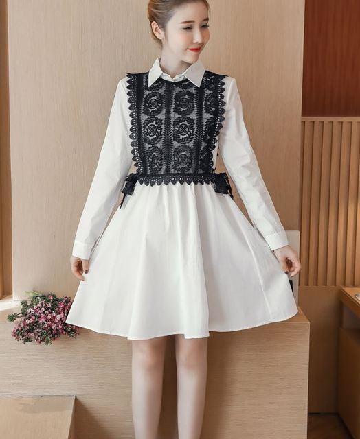 Korean Fashion Women White Dress Casual Top Clothes Big Size