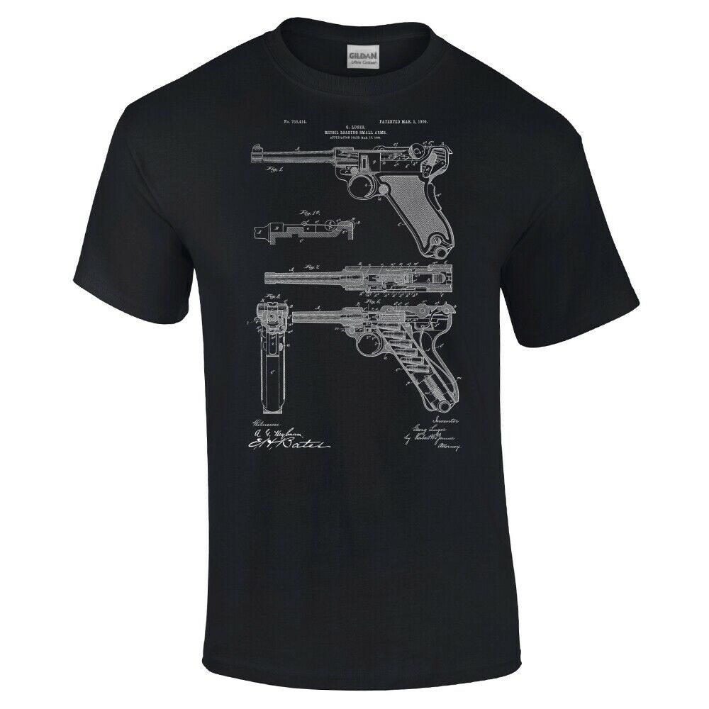 Ww2 Luger Pistol Shirt Ww2 Shirt Gun Enthusiast Vintage Handgun Military Gift 2019 New Brand Clothing Men Cool O-Neck T Shirt image