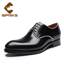 SIPRIKS Italian Handmade Genuine Leather Black Derby Shoes SIPRIKS Custom Goodyear Welted Dress Shoes Men Formal Suits Men Shoes