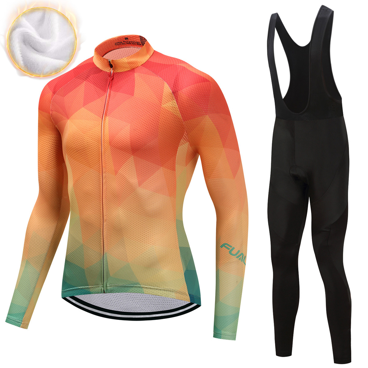 FUALRNYPro Flier Winter Thermal Fleece Cycling Jersey Set 2018 Long Sleeve Bicycle Clothing MTB Bike Wear Maillot Ropa Ciclismo