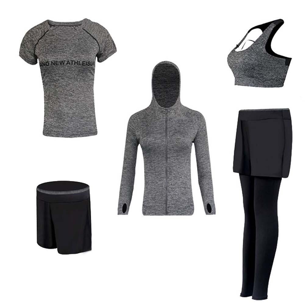Nouveau Yoga Costumes Femmes Gym Fitness Vêtements Courir Survêtement Sport Soutien-Gorge + Sport Leggings + Yoga Shorts + Top 5 pièce Ensemble Plus La Taille