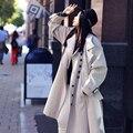 MX118 Outono e Inverno 2016 Nova Chegada de moda de grandes dimensões casuais falso duas peças soltas x longo grosso casaco de camurça mulheres