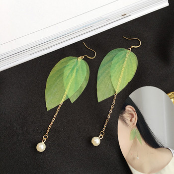 Fashion Women Green Colorful Leaf pearl Earrings Long Earrings Pendientes Mujer Moda Para Las Mujeres Brincos image