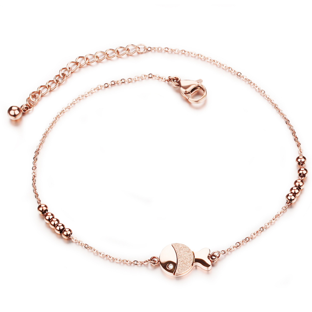 Stainless Steel Anklets Rose Gold Plated Fish Design Beads Women Vintage New Fashion Jewelry Bracelets Cute