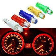 10 sztuk T5 LED wnętrza samochodu deska rozdzielcza przyrząd pomiarowy samochód Auto boczna lampa światła klinowego żarówka DC 12V biały czerwony niebieski żółty zielony