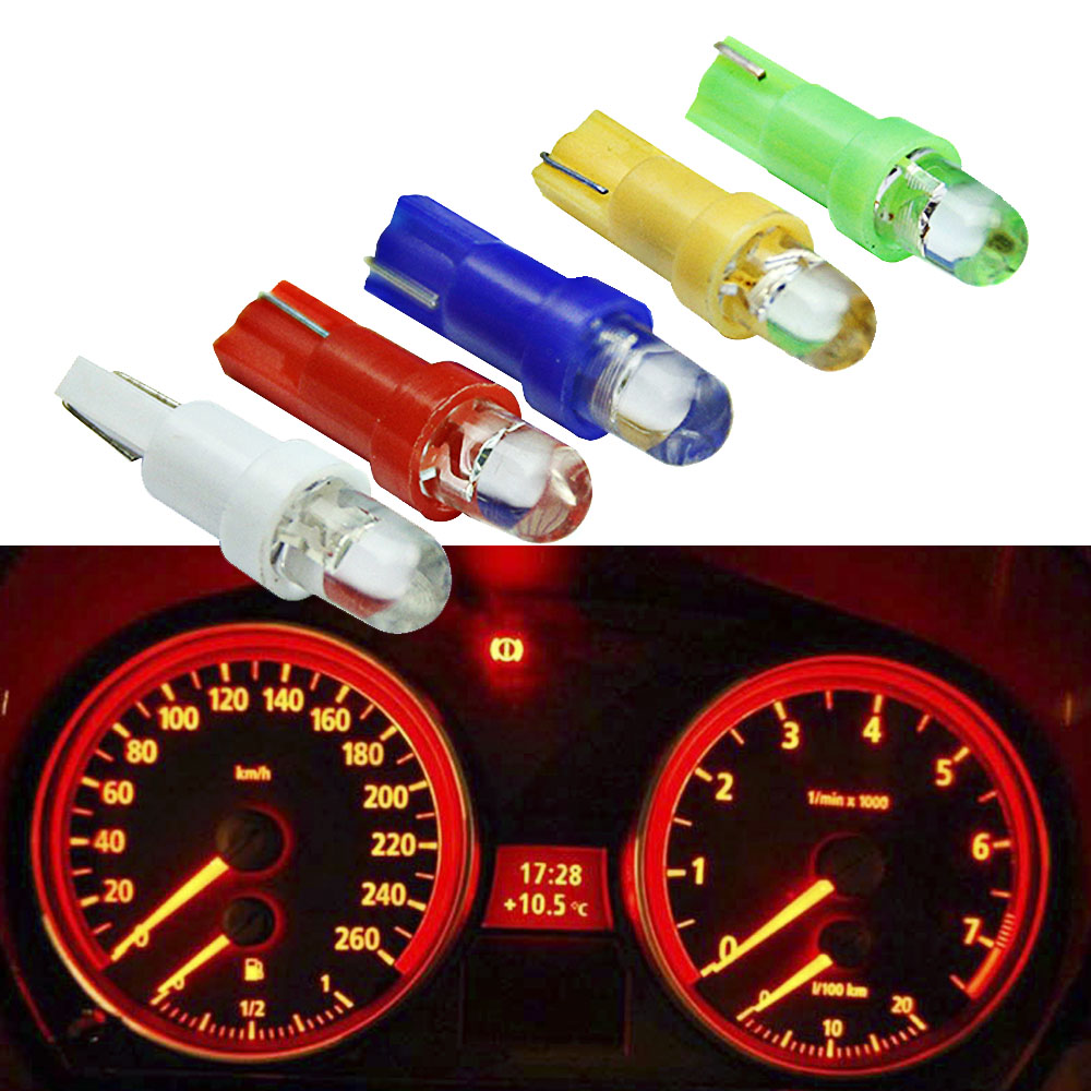 10PCS T5 LED Car Interior Dashboard Gauge Instrument Car Auto Side Wedge Light Lamp Bulb DC 12V White Red Blue Yellow Green 4pcs positive earth blue ba7s led dashboard gauge warning switch bulb 12v red white green amber glb281