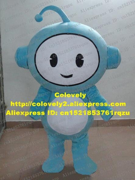 Amabile Luce Blu Robot Automaton Mascot Costume Cartoon Character Mascotte Adulto Del Vestito Operato Faccia Bianca Stoamch Zz324 Sh Libero
