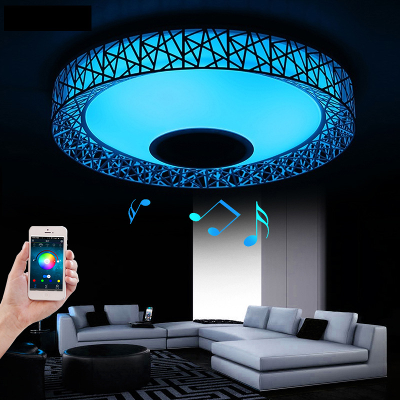 2017 New RGB Music LED Ceiling Light With Bluetooth Smathphon APP Control Modern Lighting LED Ceiling Lamp for Romantic Party motorcycle steering damper stabilizer with mounting bracket kit for yamaha mt09 mt 09 fz09 fz 09 2014 2015 2016