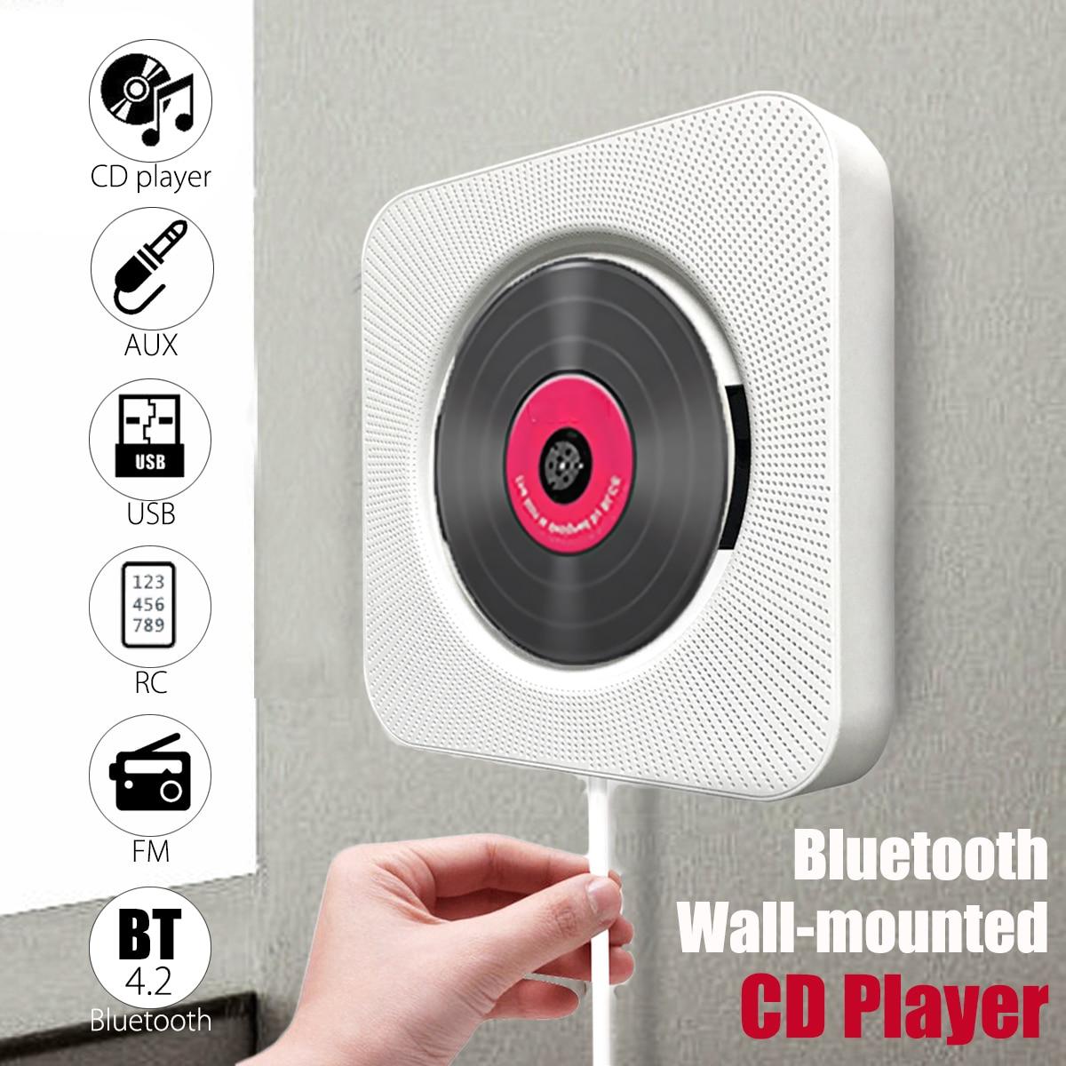 KINCO Portable Wall Mountable CD Player Bluetooth Speaker Music Player Remote Control HiFi FM Radio USB MP3 Stereo godovic wall cd player cd machine sound mp3 music player wall mount cd player portable with bluetooth remote control
