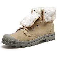 ฤดูหนาวผู้ชาย/ผู้หญิงรองเท้าหิมะแฟชั่นผ้าใบขนยาวหิมะรองเท้าลำลองสูงรองเท้าทหารข้อเท้าBotas Masculinaคนรักรองเท้า