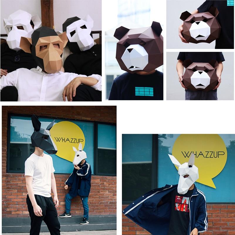 Masque d'halloween Tête Visage Adulte carton Respirant Décor De Fête D'halloween Cosplay Costume Animal Masque BRICOLAGE Fête Délicate