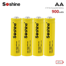 4pcs Soshine 3.7V ICR 14500 900mAh Li-ion Rechargeable Battery with Safety Relief Valve + Battery Box for Flashlights Headlamps ultrafire lc 14500 rechargeable 900mah 3 6v li ion battery blue