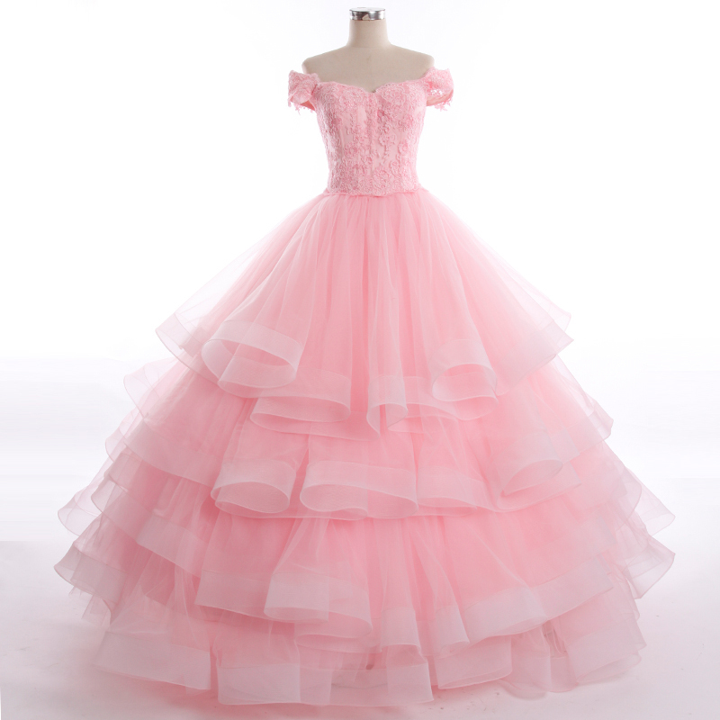 2014 new vintage modest pink white off shoulder tier ball for High low ball gown wedding dress