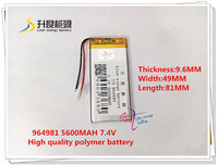 7 4V 5600mAh 964981 Polymer Lithium Ion Li Ion Battery For Tablet Pc GPS Mp4 MP3