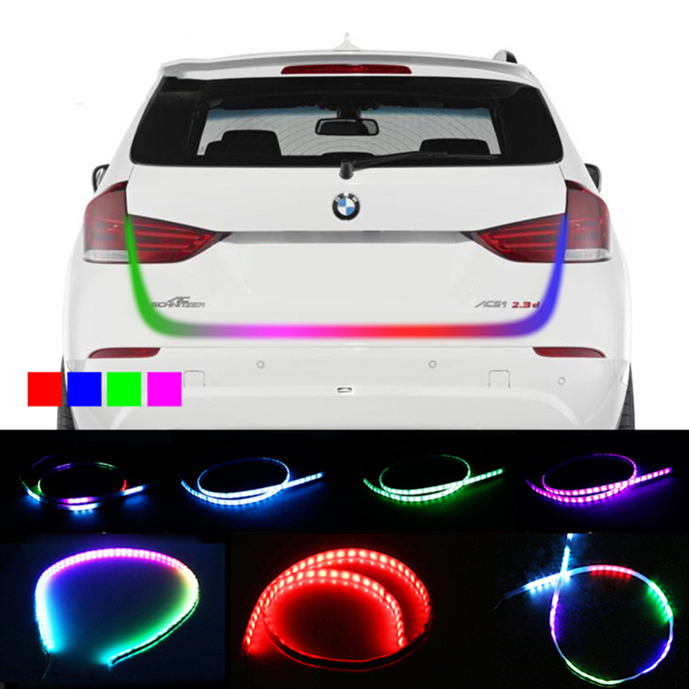 New RGB Undercarriage Floating Led Dynamic Streamer Turn Signal Tail LED Warning Lights Luggage Compartment Lights Car Styling blue red white yellow led strip tail streamer brake turn signal warning lighting car styling dynamic streamer drl tail lights